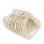 Wide Transparent White Glass Bead Flex Bracelet - up to 19cm wrist - view 5