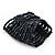 Wide Dark Grey Glass Bead Flex Bracelet - up to 19cm wrist - view 3