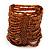 Wide Brown Glass Bead Flex Bracelet - up to 19cm wrist - view 3