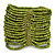 Wide Lime Green Glass Bead Flex Bracelet - up to 19cm wrist