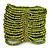 Wide Lime Green Glass Bead Flex Bracelet - up to 19cm wrist