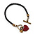 Black Leather Red Enamel Heart Charm Bracelet With T- Bar Closure - up to 19cm wrist - view 3