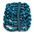 Teal Blue Multistrand Wood Bead Bracelet - up to 18cm wrist - view 2