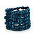 Teal Blue Multistrand Wood Bead Bracelet - up to 18cm wrist - view 4