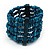 Teal Blue Multistrand Wood Bead Bracelet - up to 18cm wrist - view 5