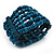 Teal Blue Multistrand Wood Bead Bracelet - up to 18cm wrist - view 6