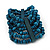 Teal Blue Multistrand Wood Bead Bracelet - up to 18cm wrist - view 7