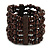 Dark Brown Multistrand Wood Bead Bracelet - up to 18cm wrist
