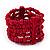 Fuchsia Multistrand Wood Bead Bracelet - up to 18cm wrist
