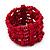 Fuchsia Multistrand Wood Bead Bracelet - up to 18cm wrist - view 5