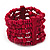 Fuchsia Multistrand Wood Bead Bracelet - up to 18cm wrist - view 6