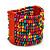 Wide Multicoloured Multistrand Wood Bead Bracelet - up to 20cm wrist