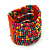 Wide Multicoloured Multistrand Wood Bead Bracelet - up to 20cm wrist - view 4