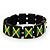 Black Wooden 'Jamaica Flag' Stretch Bracelet - up to 20cm length - view 4