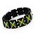 Black Wooden 'Jamaica Flag' Stretch Bracelet - up to 20cm length - view 3