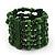 Green Multistrand Wood Bead Bracelet - up to 18cm wrist