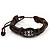 Unisex Dark Brown Leather 'Eye' Bracelet - Adjustable