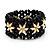 Black Floral Wood Bead Bracelet - up to 19cm wrist