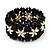 Black Floral Wood Bead Bracelet - up to 19cm wrist - view 3
