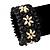 Black Floral Wood Bead Bracelet - up to 19cm wrist - view 2