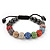 Unisex Multicoloured Swarovski Crystal Balls & Smooth Round Hematite Beads Buddhist Bracelet - 10mm - Adjustable - view 3