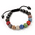 Unisex Multicoloured Swarovski Crystal Balls & Smooth Round Hematite Beads Buddhist Bracelet - 10mm - Adjustable - view 4