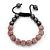 Pink Swarovski Crystal Balls & Smooth Round Hematite Beads Buddhist Bracelet - 10mm - Adjustable - view 6