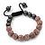 Pink Swarovski Crystal Balls & Smooth Round Hematite Beads Buddhist Bracelet - 10mm - Adjustable