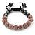 Pink Swarovski Crystal Balls & Smooth Round Hematite Beads Buddhist Bracelet - 10mm - Adjustable - view 4