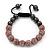 Pink Swarovski Crystal Balls & Smooth Round Hematite Beads Buddhist Bracelet - 10mm - Adjustable - view 2