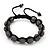 Dim Grey Swarovski Crystal Balls Buddhist Bracelet - 10mm - Adjustable