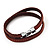 Unisex Brown Leather Wristband - (for smaller wrist - 17cm length) - view 2