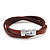Unisex Brown Leather Wristband - (for smaller wrist - 17cm length) - view 3