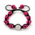 Deep Pink Skull Shape Stone Beads Buddhist Bracelet - 11mm diameter - Adjustable