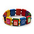 Multicoloured Wood 'Peace' Stretch Bracelet - up to 20cm length - view 2