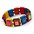 Multicoloured Wood 'Peace' Stretch Bracelet - up to 20cm length - view 3
