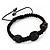 Skull & Black Crystal Beaded Buddhist Bracelet - Adjustable - 12mm Diameter - view 5