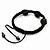 Skull & Black Crystal Beaded Buddhist Bracelet - Adjustable - 12mm Diameter - view 4