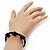 Skull & Black Crystal Beaded Buddhist Bracelet - Adjustable - 12mm Diameter - view 2