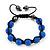 Unisex Sapphire Blue Coloured Swarovski Crystal Balls & Smooth Round Hematite Beads Buddhist Bracelet - 12mm - Adjustable