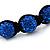 Unisex Sapphire Blue Coloured Swarovski Crystal Balls & Smooth Round Hematite Beads Buddhist Bracelet - 12mm - Adjustable - view 3