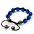 Unisex Sapphire Blue Coloured Swarovski Crystal Balls & Smooth Round Hematite Beads Buddhist Bracelet - 12mm - Adjustable - view 4