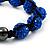 Unisex Sapphire Blue Coloured Swarovski Crystal Balls & Smooth Round Hematite Beads Buddhist Bracelet - 12mm - Adjustable - view 2