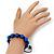Unisex Sapphire Blue Coloured Swarovski Crystal Balls & Smooth Round Hematite Beads Buddhist Bracelet - 12mm - Adjustable - view 5