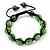 Unisex Grass Green Swarovski Crystal Balls & Smooth Round Hematite Beads Buddhist Bracelet - 12mm - Adjustable - view 4