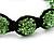 Unisex Grass Green Swarovski Crystal Balls & Smooth Round Hematite Beads Buddhist Bracelet - 12mm - Adjustable - view 2