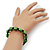 Unisex Grass Green Swarovski Crystal Balls & Smooth Round Hematite Beads Buddhist Bracelet - 12mm - Adjustable - view 5