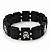 Black/White Wood Flex 'Skull & Crossbones' Bracelet - up to 20cm Length