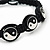 Black/White 'Yin Yang' Cotton Wristband - Adjustable - view 3