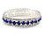 Royal Blue/Clear Swarovski Crystal Flex Bracelet (Silver Tone Metal) - 18cm Length